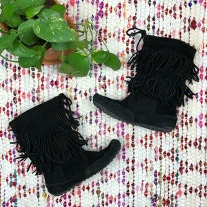 Minnetonka Black Suede Fringe Ankle Moccasin Boots